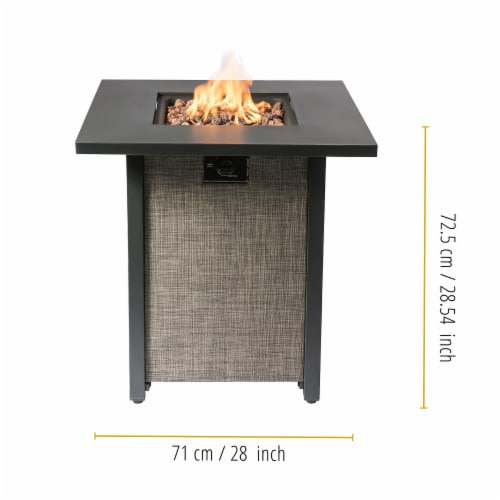 Peaktop Firepit Outdoor Gas Fire Pit Metal Fabric, Lava Rock, Cover HF28201AA Perspective: bottom