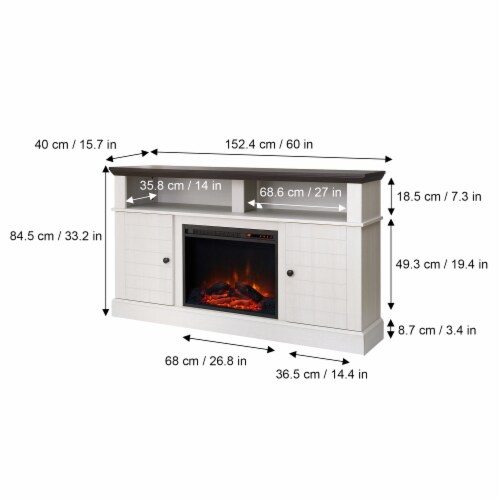 "Versanora 60"" Fireplace TV Stand Unit & Remote 23"" Insert White Eliana VNF-00100 Perspective: bottom"