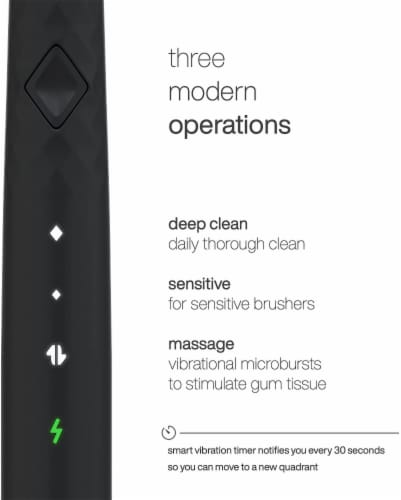 AquaSonic Pulse – Electric Toothbrush w Activated Charcoal, BLACK Perspective: bottom