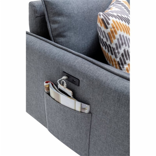 Lana Mid-Century Modern Gray Fabric Sofa Couch with USB Charging Ports Perspective: bottom