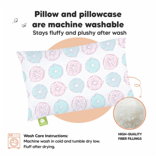 Hypoallergenic Toddler Pillow with 100% Cotton Pillowcase (Donuts) Perspective: bottom
