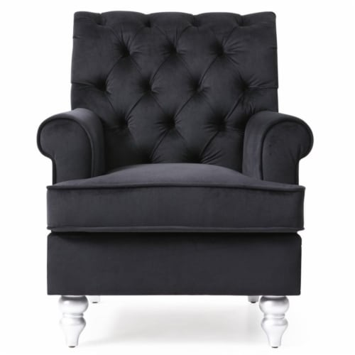Glory Furniture Anna Velvet Accent Arm Chair in Black Perspective: bottom