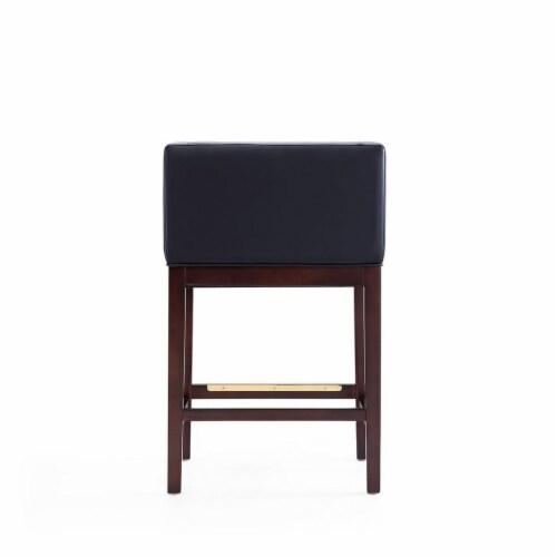 Manhattan Comfort Kingsley 34 in. Black and Dark Walnut Beech Wood Counter Height Bar Stool Perspective: bottom