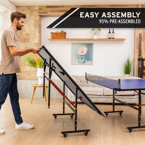 HEAD 1-1-33012-DS 12 Millimeter Surface Match Point Ping Pong Table with Net Perspective: bottom