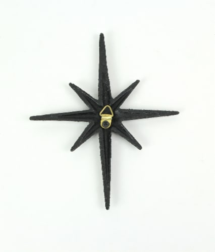 Set of 3 Black Cast Iron 8 Pointed Starburst Wall Hangings Mid Century Stars - Black Perspective: bottom