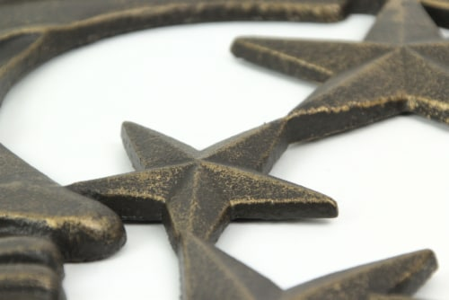 Antique Bronze Finished Cast Iron Crescent Moon and Stars Wall Hanging Perspective: bottom