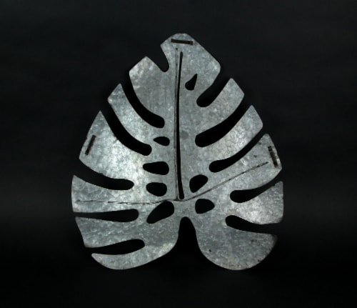 Set of 2 Galvanized Zinc Finish Metal Monstera Leaf Sculptures Wall Hanging Tropical Decor Perspective: bottom