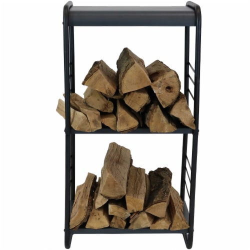 Sunnydaze Modern Rounded Edge Iron and Steel Log Rack - 36-Inch Perspective: bottom