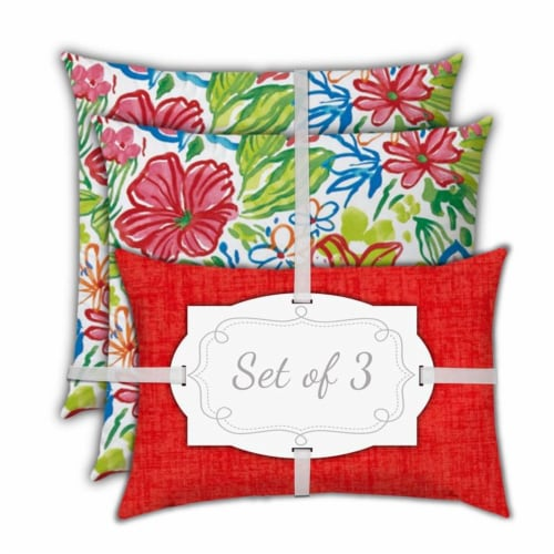 Joita Tropical Fruit Salad Polyester Outdoor Pillows in Red (Set of 3) Perspective: bottom