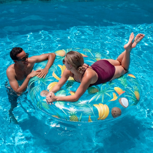 PoolCandy Clear Tropical Pattern Giant Island Float Perspective: bottom