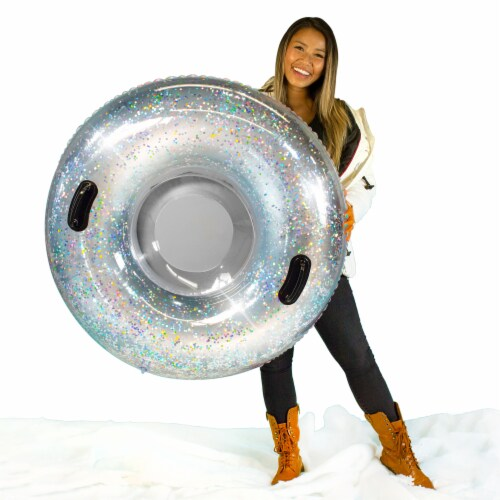 SnowCandy Inflatable Glitter Inflatable Snow Sled - Silver Perspective: bottom