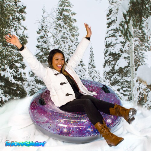 SnowCandy Inflatable Galaxy Glitter Inflatable Snow Sled Perspective: bottom