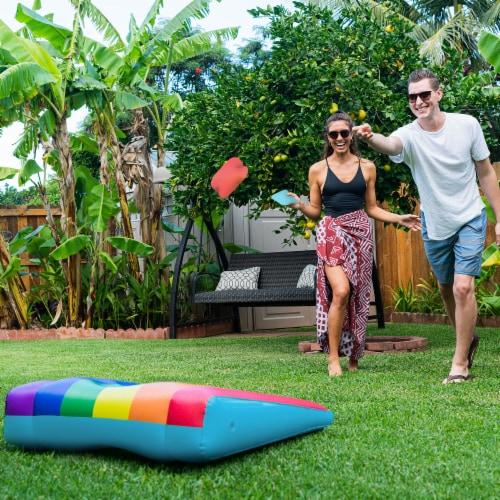 PoolCandy Rainbow Inflatable Cornhole Set Perspective: bottom