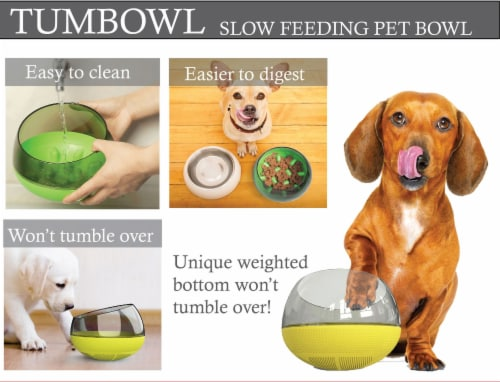 Pet Life 'Tumbowl' Slow Feeding Pet Bowl, Yellow Perspective: bottom