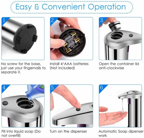 Soap Dispenser, Touchless Automatic Soap Dispenser Waterproof Base Stainless Steel Infrared Perspective: bottom