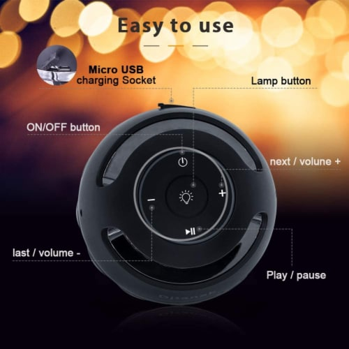 Portable Bluetooth 5.0 Indoor/Outdoor Wireless Speaker LED Torch Atmosph iPhone/iPad/Android Perspective: bottom