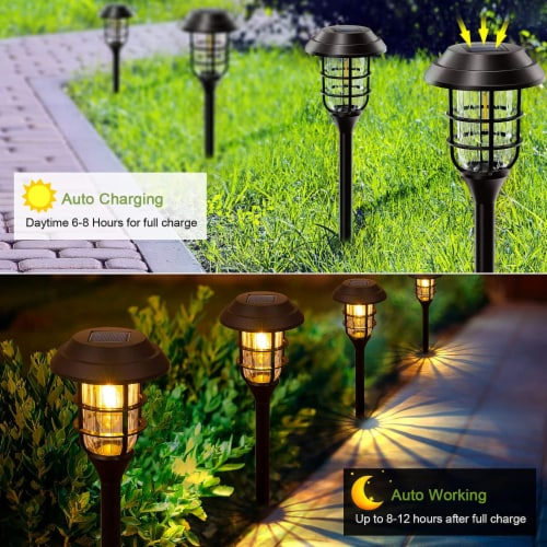 8 pk Solar Led Garden Pathway Lawn Ground Yard Light Water Proof Long lasting -Cool White Perspective: bottom