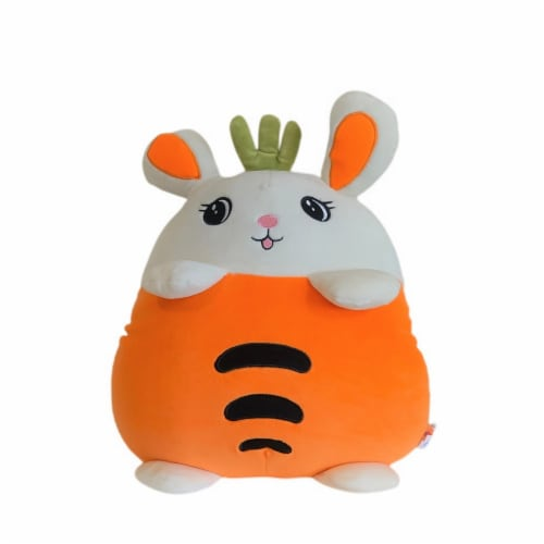Carrot Bunny Plush Pillow Stuffed Toy | Swiss Jasmine® Plushies | with Blanket | 16 Inches Perspective: bottom