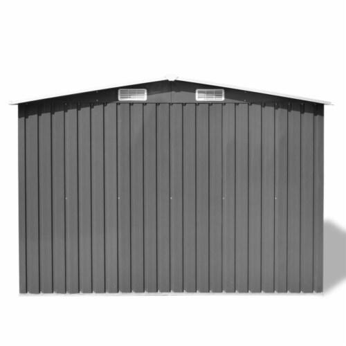 vidaXL Garden Storage Shed Gray Metal 101.2 x80.7 x70.1 Perspective: bottom