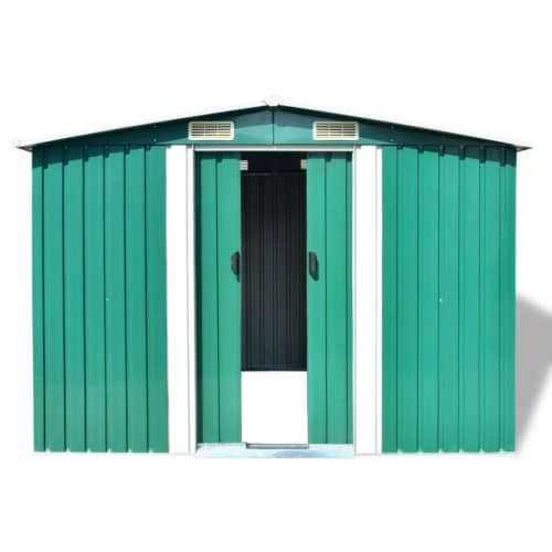 vidaXL Garden Storage Shed Green Metal 101.2 x80.7 x70.1 Perspective: bottom