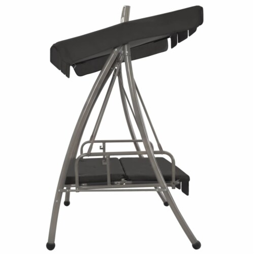 vidaXL Outdoor Convertible Swing Bench with Canopy Anthracite 78 x47.2 x80.7  Steel Perspective: bottom