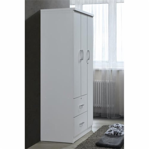 Hodedah 3 Door Armoire with 2 Drawers 3 Shelves in White Wood Perspective: bottom