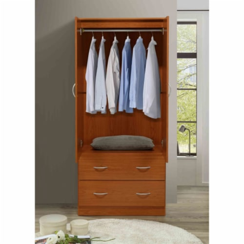 Hodedah 2 Door Armoire with 2 Drawers Clothing Rod and Mirror in Cherry Wood Perspective: bottom