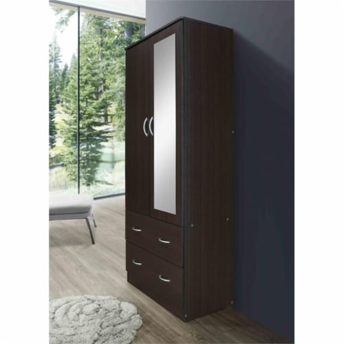 Hodedah 2 Door Armoire with 2 Drawers Clothing Rod and Mirror in Chocolate Wood Perspective: bottom