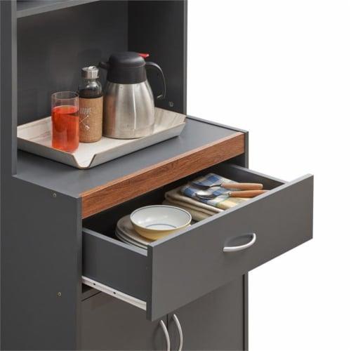 Hodedah 54  Tall Open Shelves 2-Door 1-Drawer Wooden Kitchen Cabinet in Gray-Oak Perspective: bottom