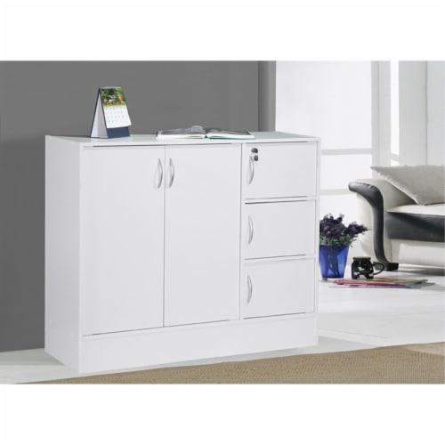Hodedah Multipurpose Wooden Bookcase with 5-Doors 3-Shelves in White Perspective: bottom