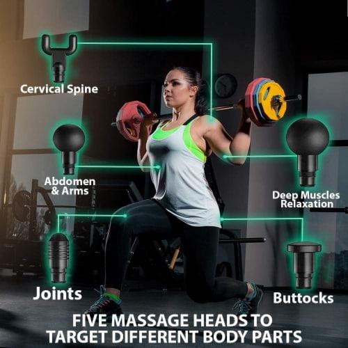 WBM Smart Massage Gun, 5 Massage Heads for Different Muscle Groups, 3 Speed Modes | Black Perspective: bottom