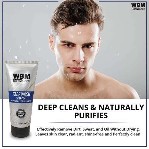 WBM Men Care Face Wash, Purifying & Hydrating Charcoal Cleanser, For All Skin Types | 5.29 Oz Perspective: bottom