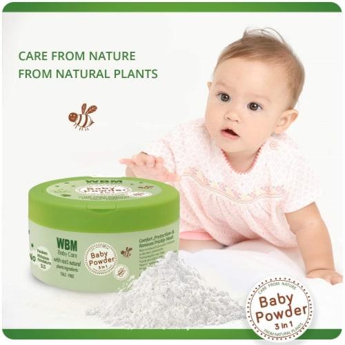 WBM Care Baby Powder   3 in 1 Skin Repairing, Nourishing & Drying Natural Powder   4.9 oz Perspective: bottom