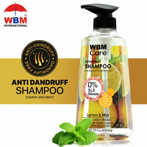 WBM Care Shampoo, Anti-Dandruff and Oil Remover, Lemon and Mint with Pink Salt   17.5 Oz Perspective: bottom