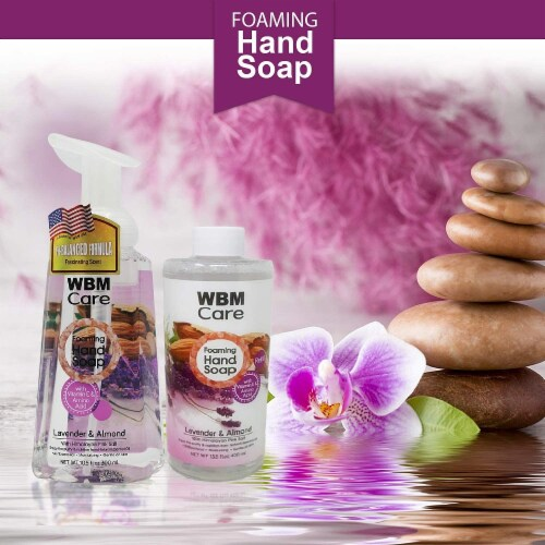 WBM Care Foaming Hand Soap, Liquid Hand Soap Refill with Lavender & Almond Oil, Pack of 3/13. Perspective: bottom