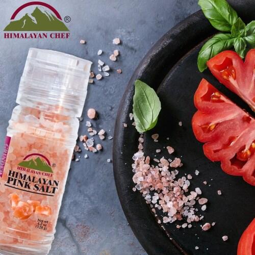Himalayan Chef Pink Salt, Pure Himalayan Salt, Small Glass Grinder – 6 Packs | 4.2 Oz Each Perspective: bottom