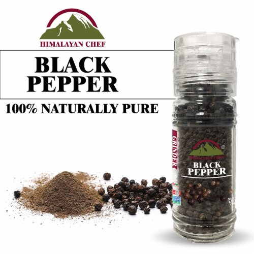 Himalayan Chef Black Pepper, 100% Natural Peppercorns, Small Glass Grinder, 1.76 Oz – 6 Packs Perspective: bottom