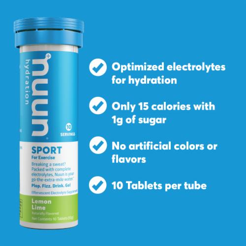 Nuun Hydration Sport Lemon Lime Effervescent Electrolyte Supplement Tablets Perspective: bottom