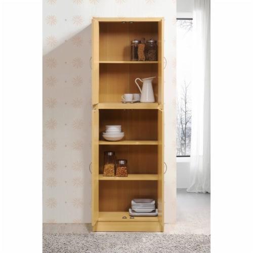 Hodedah 4-Door Kitchen Pantry with 4-Shelves, 5-Compartments in Beech Perspective: bottom