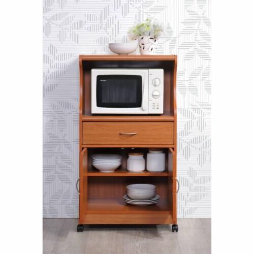 Microwave Kitchen Cart in Cherry - Hodedah Perspective: bottom