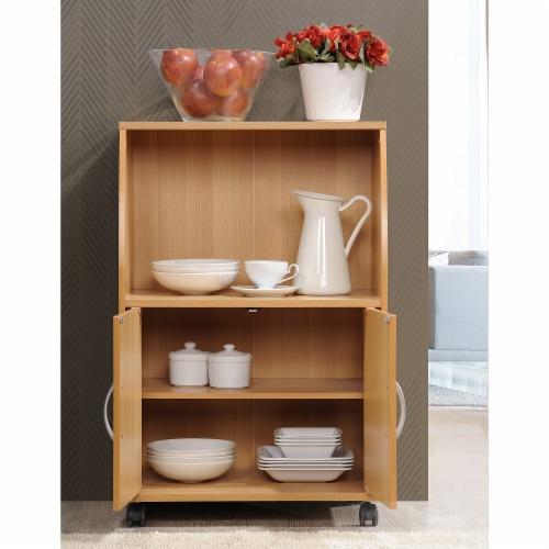 Microwave Kitchen Cart in Beech Brown - Hodedah Perspective: bottom