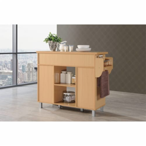 Kitchen Island with Spice Rack plus Towel Holder in Beech Brown - Hodedah Perspective: bottom
