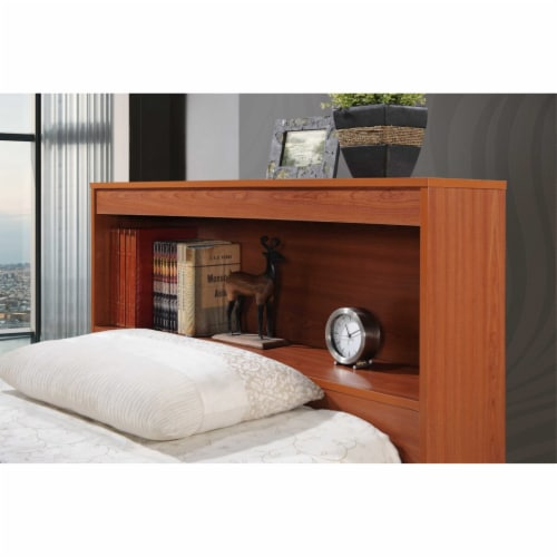 Twin Size Captain Bed with 3 Drawers and Headboard in Cherry - Hodedah Perspective: bottom