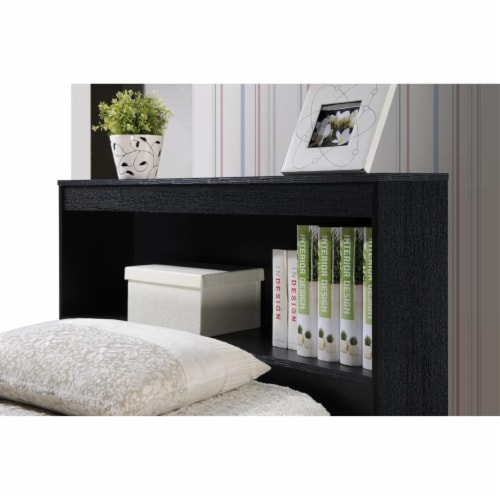 Twin Size Captain Bed with 3 Drawers and Headboard in Black - Hodedah Perspective: bottom