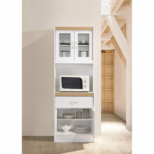 Hodedah Freestanding Kitchen Storage Cabinet w/ Open Space for Microwave, White Perspective: bottom