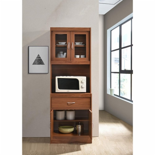 """Hodedah Import 70"""" Tall Top/Bottom Enclosed Kitchen Cabinet with Drawer, Cherry Perspective: bottom"""