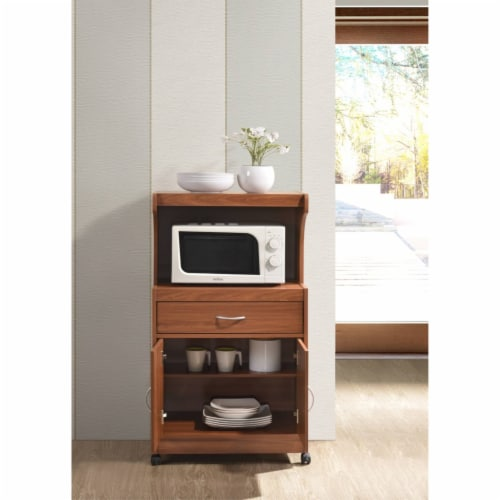 Hodedah Microwave Kitchen Cart in Cherry Perspective: bottom