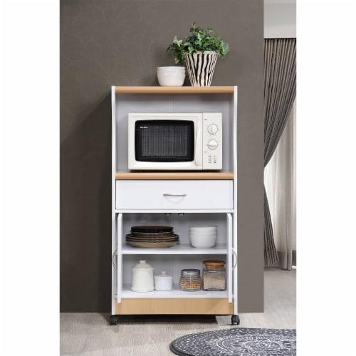Microwave Kitchen Cart in White - Hodedah Perspective: bottom