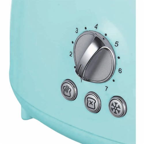 Brentwood Appliances TS-270BL Cool-Touch 2-Slice Retro Toaster with Extra-Wide Slots (Blue) Perspective: bottom
