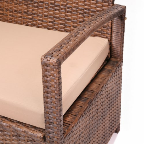 Outdoor All-Weather Deck Box Storage Bench Patio with Seat Cushion Perspective: bottom